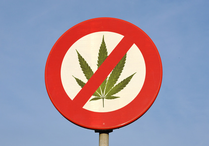 Red and white round reflective prohibition sign with canabis leaf