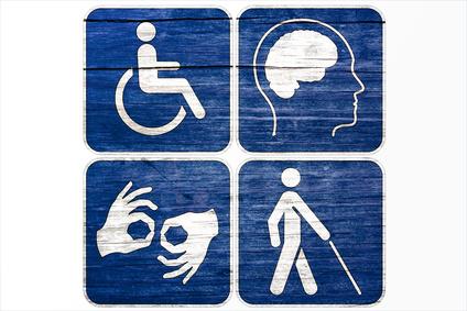 Four Grunge disabled symbols