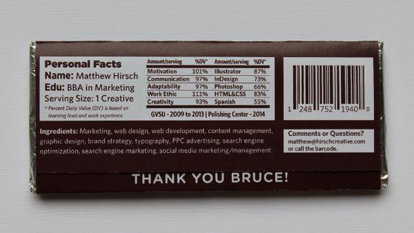 encore un cv original sur une tablette de chocolat