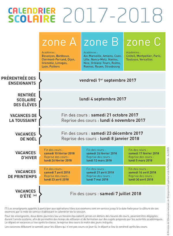 calendrier scolaire 2018 rennes
