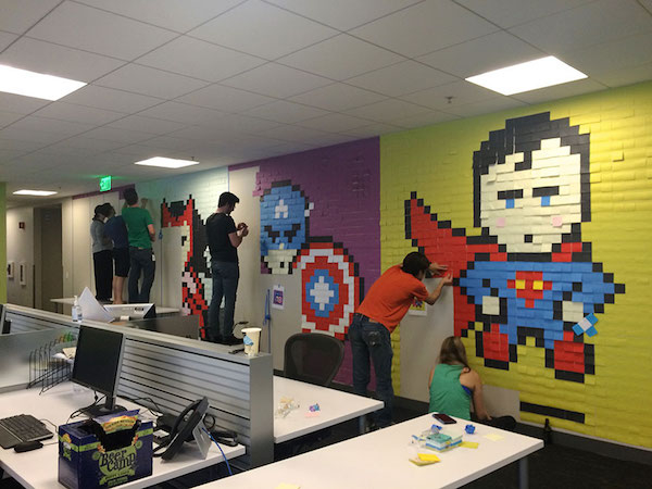 office-wall-post-it-art-superheroes