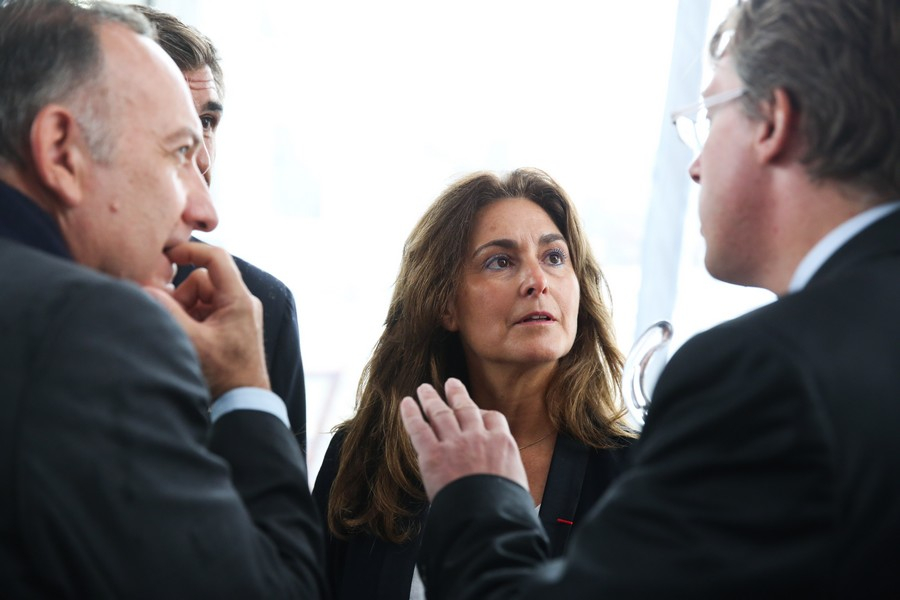Pierre Gattaz, president du MEDEF, Eva Escandon, PDG groupe SMSM